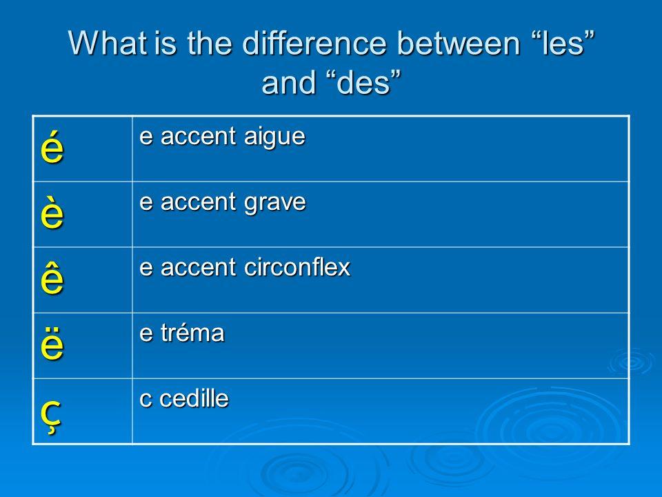 What is the difference between les and des é e accent aigue è e accent grave ê e accent circonflex ë e tréma ç c cedille
