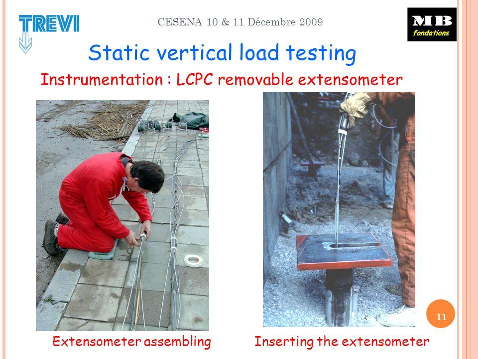 CESENA 10 & 11 Décembre 2009 Static vertical load testing Instrumentation : LCPC removable extensometer Extensometer assembling Inserting the extensometer 11