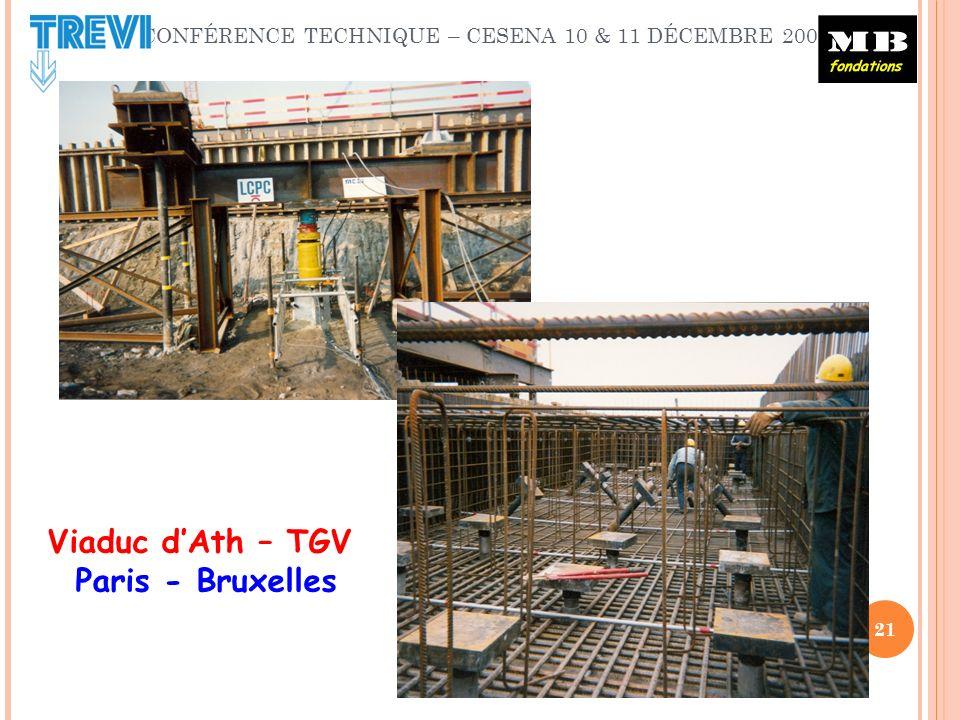 CONFÉRENCE TECHNIQUE – CESENA 10 & 11 DÉCEMBRE 2009 21 Viaduc dAth – TGV Paris - Bruxelles