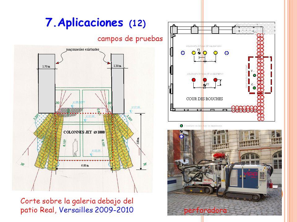 7.Aplicaciones (12) campos de pruebas Corte sobre la galeria debajo del patio Real, Versailles 2009-2010 perforadora