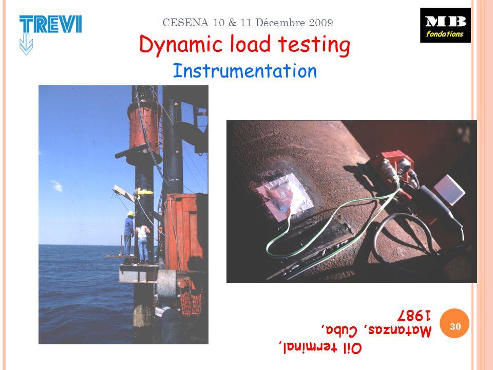 CESENA 10 & 11 Décembre 2009 Dynamic load testing Instrumentation Oil terminal, Matanzas, Cuba, 1987 30