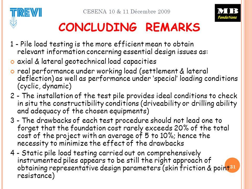 CESENA 10 & 11 Décembre 2009 CONCLUDING REMARKS 1 - Pile load testing is the more efficient mean to obtain relevant information concerning essential d