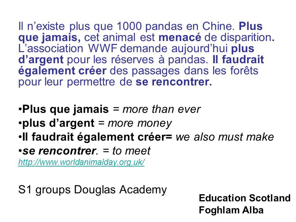 Education Scotland Foghlam Alba Il nexiste plus que 1000 pandas en Chine.