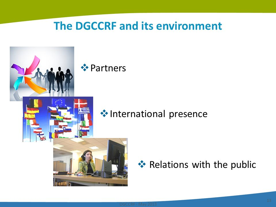 DGCCRF - May 2013 13 The DGCCRF and its environment Partners International presence Relations with the public