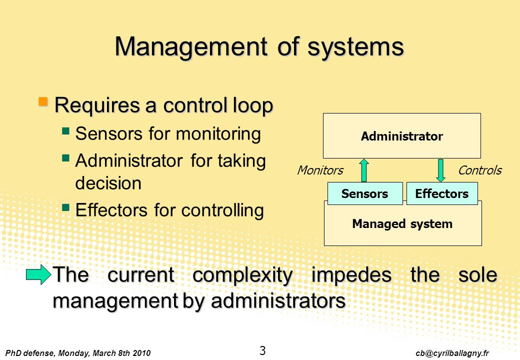 PhD defense, Monday, March 8th 2010 cb@cyrilballagny.fr 3 Management of systems The current complexity impedes the sole management by administrators M