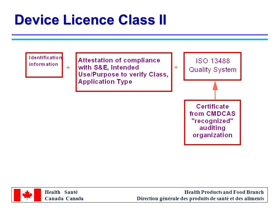 Health Santé Canada Health Products and Food Branch Direction générale des produits de santé et des aliments Device Licence Class II