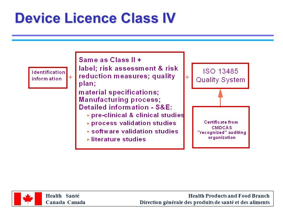 Health Santé Canada Health Products and Food Branch Direction générale des produits de santé et des aliments Device Licence Class IV