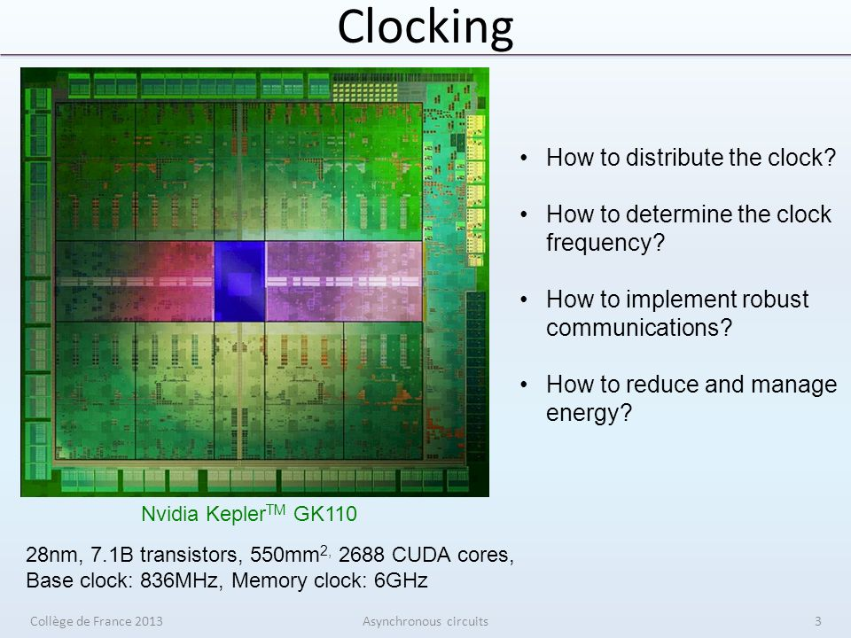 Clocking Collège de France 2013Asynchronous circuits Nvidia Kepler TM GK110 How to distribute the clock.