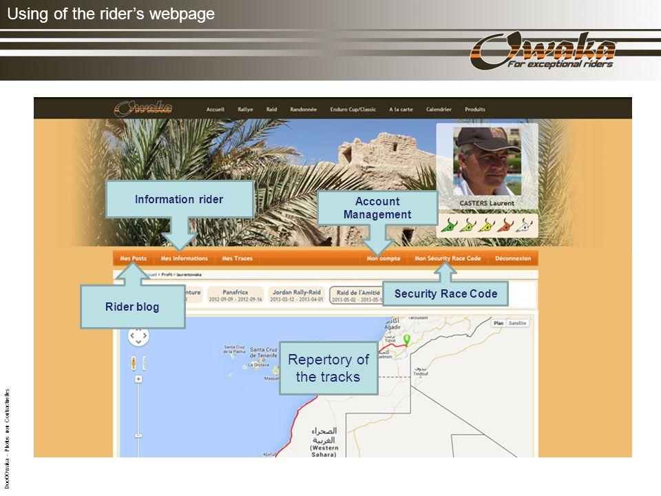Using of the riders webpage Trace: de lEtape du jour Classement par type de véhicule.