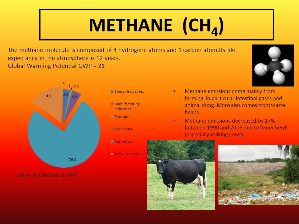 METHANE (CH 4 ) Methane emissions come mainly from farming, in particular intestinal gases and animal dung. More also comes from waste heaps.. Methane