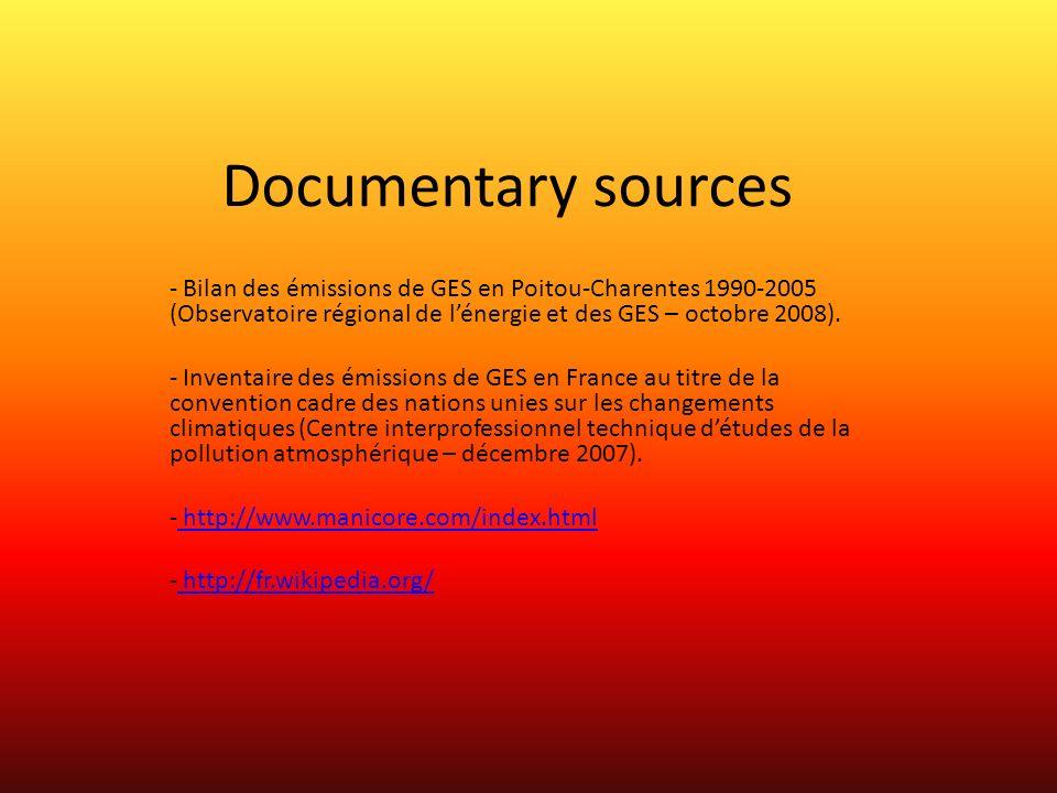 Documentary sources - Bilan des émissions de GES en Poitou-Charentes 1990-2005 (Observatoire régional de lénergie et des GES – octobre 2008).