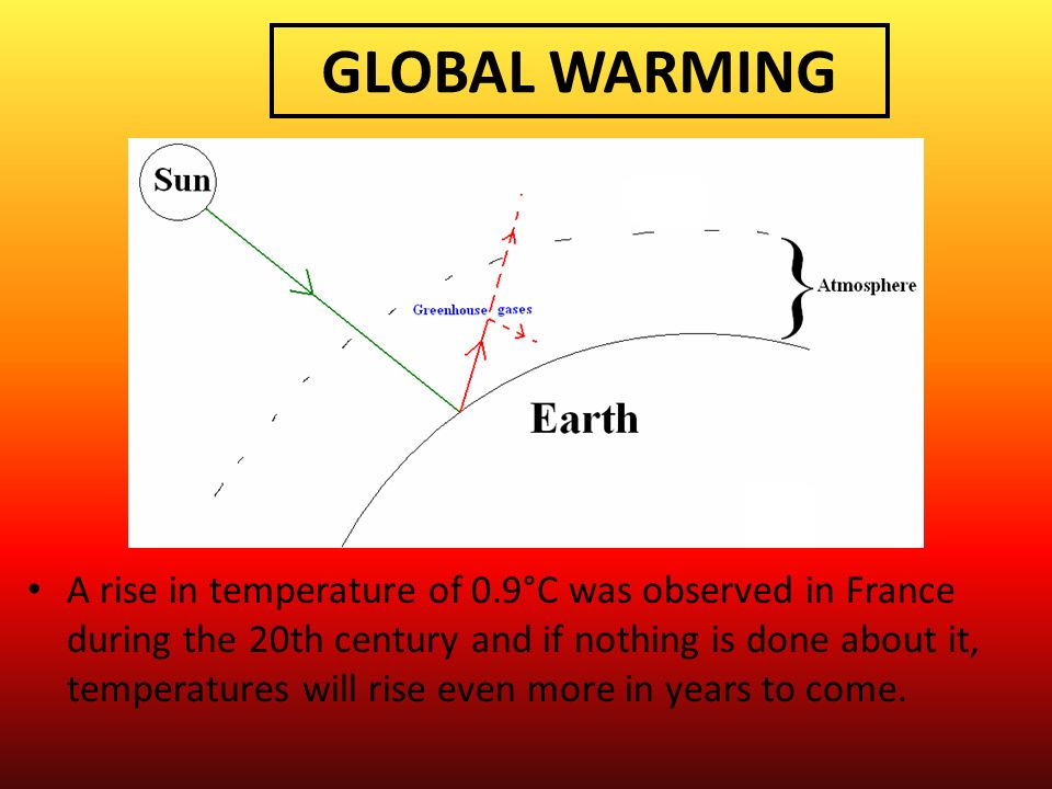 GLOBAL WARMING A rise in temperature of 0.9°C was observed in France during the 20th century and if nothing is done about it, temperatures will rise e
