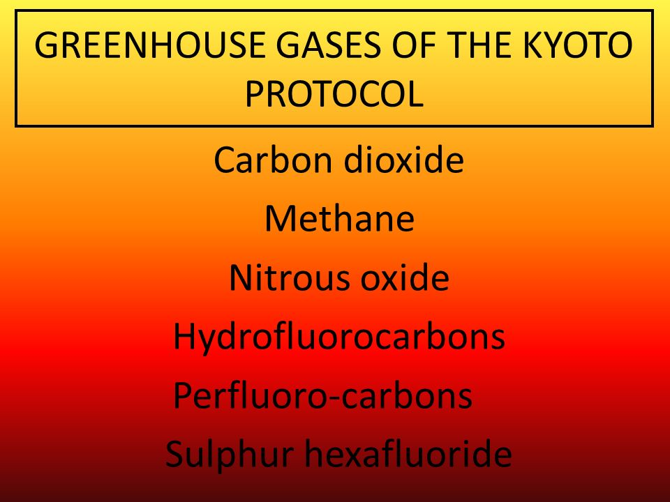 GREENHOUSE GASES OF THE KYOTO PROTOCOL Carbon dioxide Methane Nitrous oxide Hydrofluorocarbons Perfluoro-carbons Sulphur hexafluoride