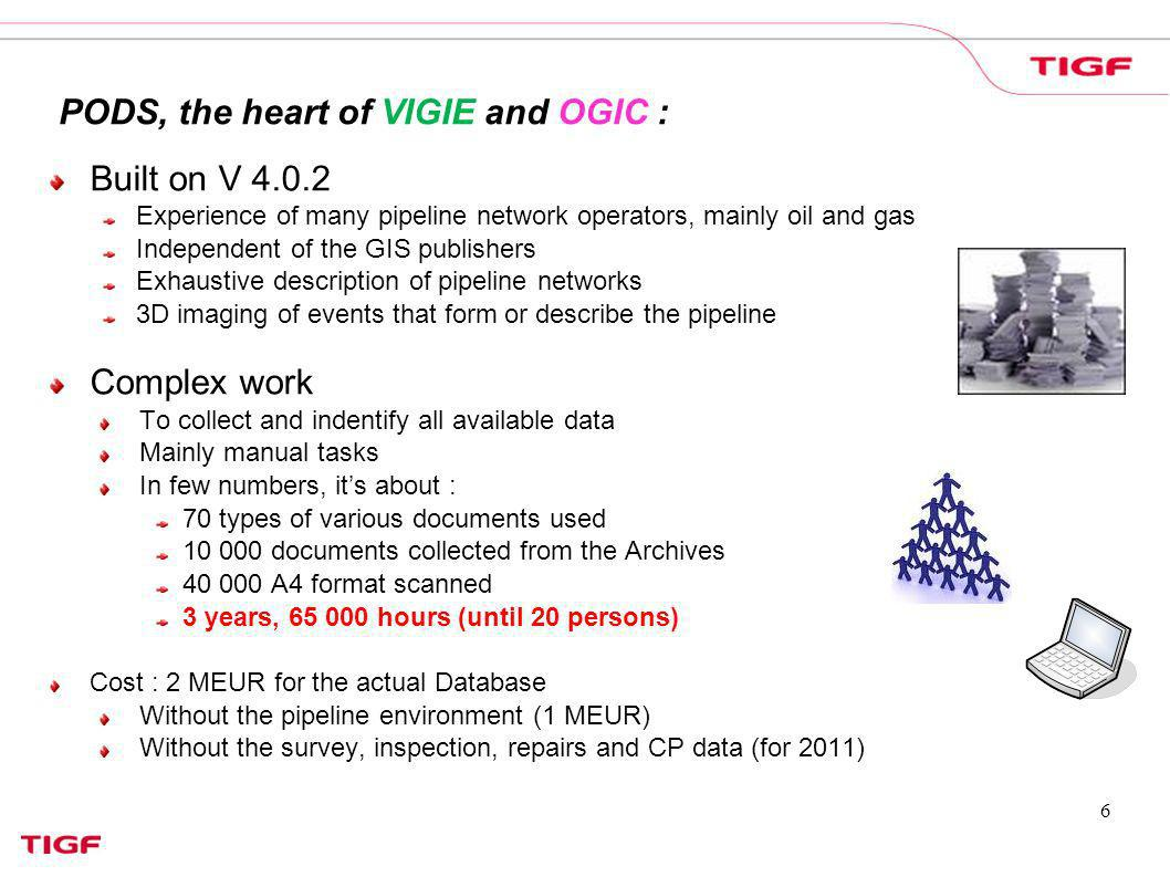 6 PODS, the heart of VIGIE and OGIC : Built on V 4.0.2 Experience of many pipeline network operators, mainly oil and gas Independent of the GIS publis