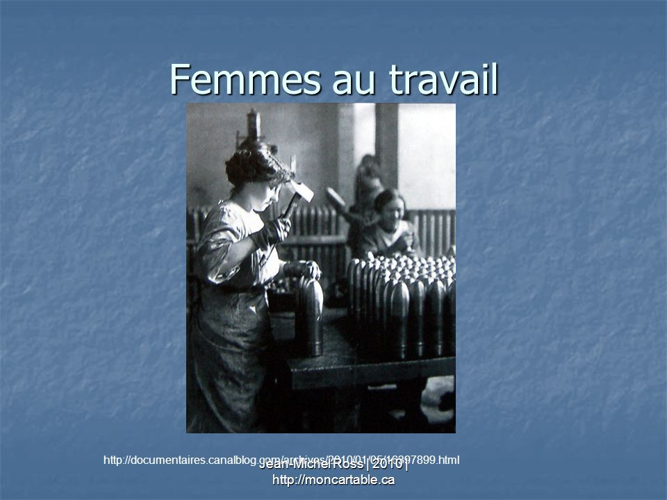 Femmes au travail http://documentaires.canalblog.com/archives/2010/01/05/16397899.html Jean-Michel Ross | 2010 | http://moncartable.ca