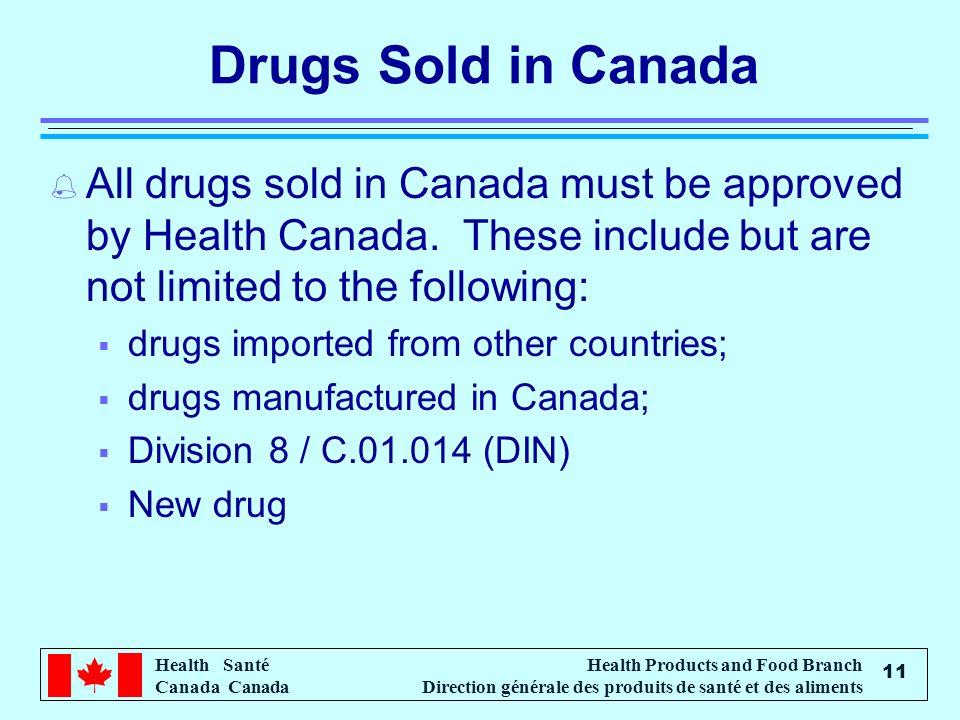 Health Santé Canada Health Products and Food Branch Direction générale des produits de santé et des aliments 11 Drugs Sold in Canada % All drugs sold in Canada must be approved by Health Canada.
