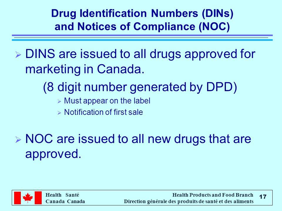 Health Santé Canada Health Products and Food Branch Direction générale des produits de santé et des aliments 17 Drug Identification Numbers (DINs) and