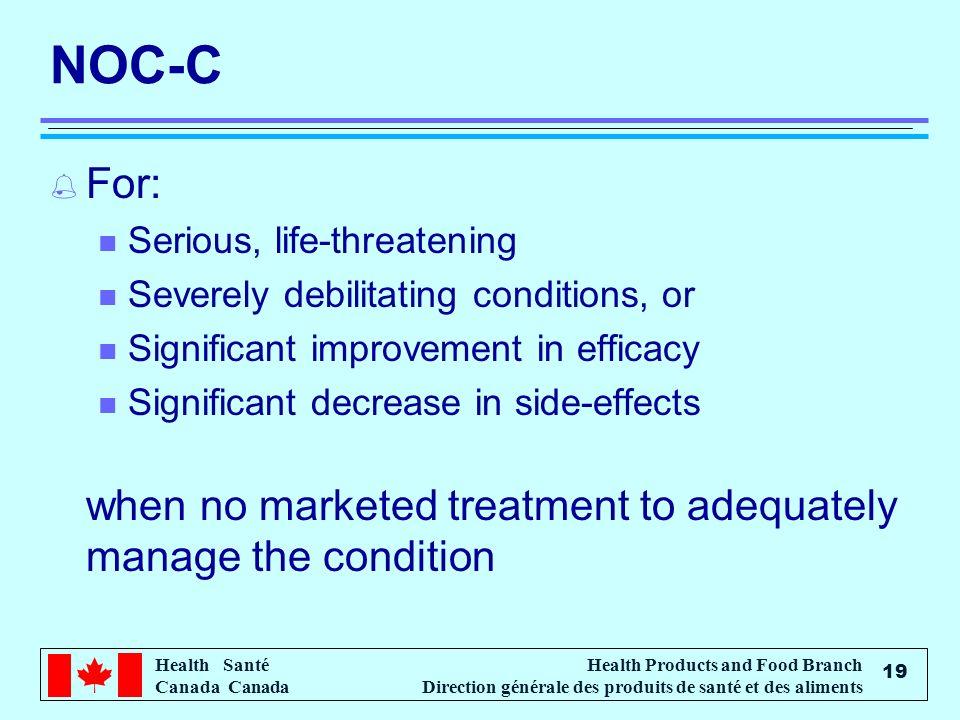 Health Santé Canada Health Products and Food Branch Direction générale des produits de santé et des aliments 19 NOC-C % For: n Serious, life-threateni