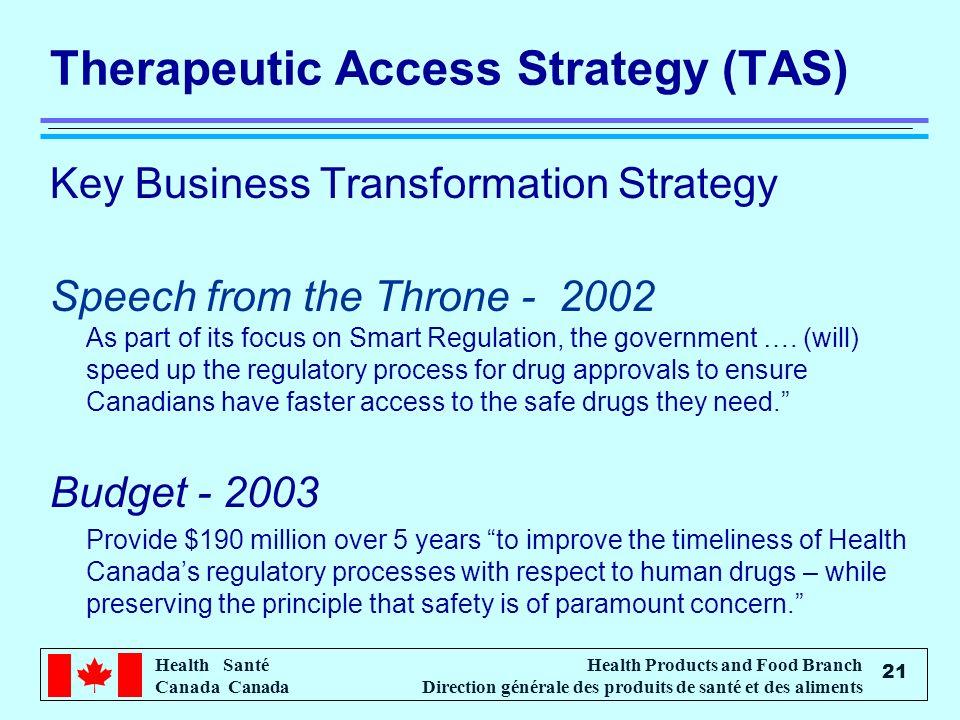 Health Santé Canada Health Products and Food Branch Direction générale des produits de santé et des aliments 21 Therapeutic Access Strategy (TAS) Key Business Transformation Strategy Speech from the Throne - 2002 As part of its focus on Smart Regulation, the government ….