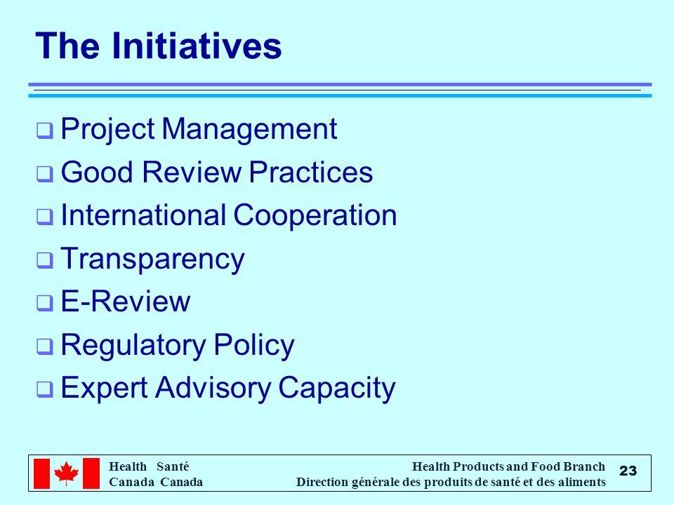 Health Santé Canada Health Products and Food Branch Direction générale des produits de santé et des aliments 23 The Initiatives Project Management Goo