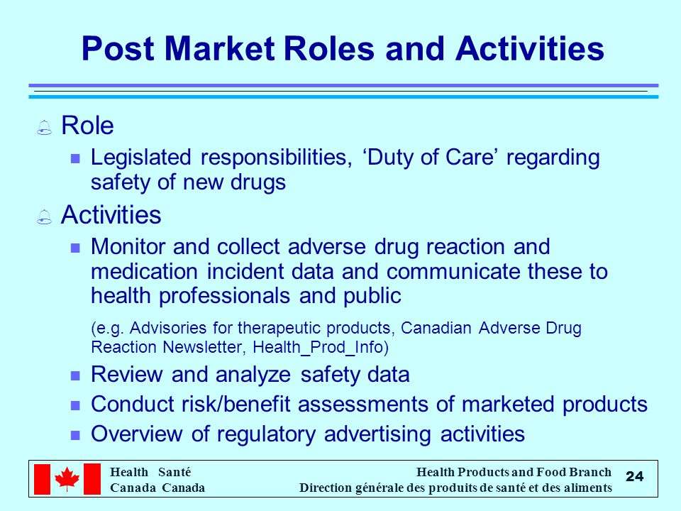 Health Santé Canada Health Products and Food Branch Direction générale des produits de santé et des aliments 24 Post Market Roles and Activities % Role n Legislated responsibilities, Duty of Care regarding safety of new drugs % Activities n Monitor and collect adverse drug reaction and medication incident data and communicate these to health professionals and public (e.g.