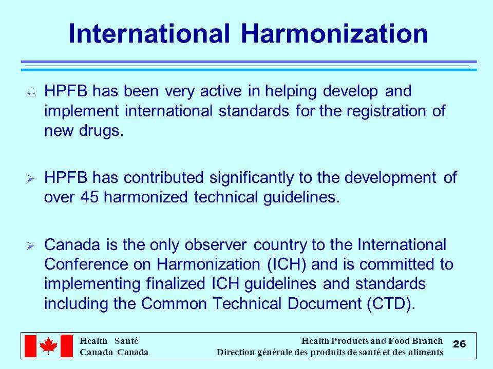 Health Santé Canada Health Products and Food Branch Direction générale des produits de santé et des aliments 26 International Harmonization % HPFB has
