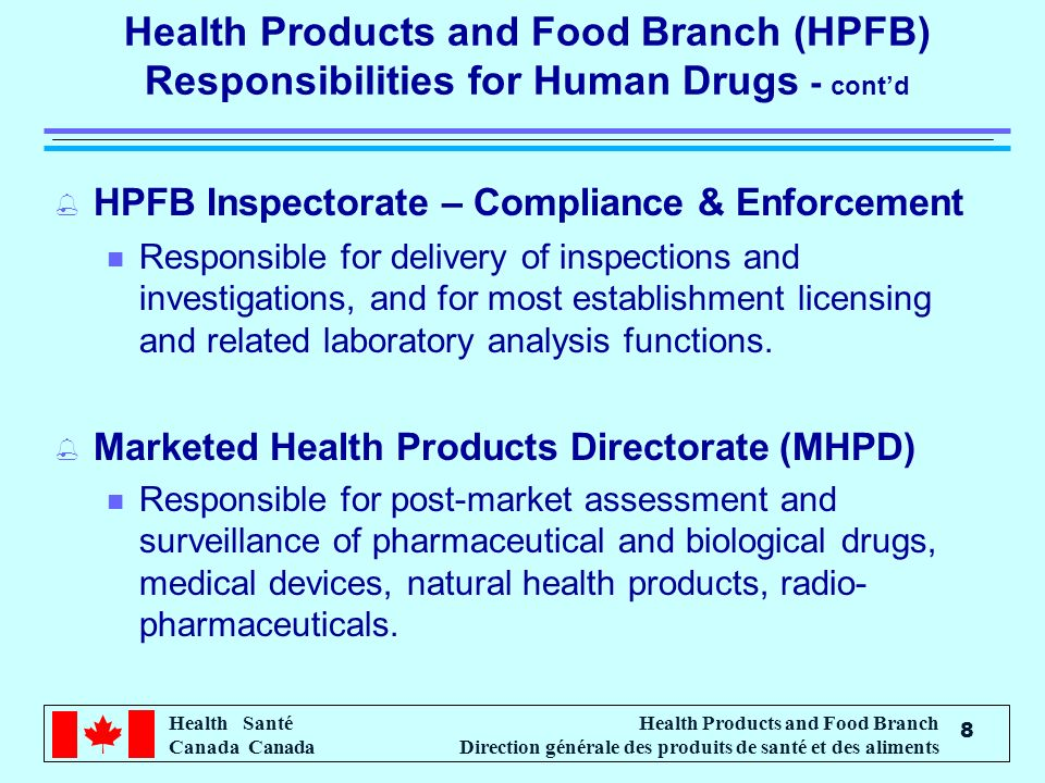 Health Santé Canada Health Products and Food Branch Direction générale des produits de santé et des aliments 8 Health Products and Food Branch (HPFB) Responsibilities for Human Drugs - contd % HPFB Inspectorate – Compliance & Enforcement n Responsible for delivery of inspections and investigations, and for most establishment licensing and related laboratory analysis functions.
