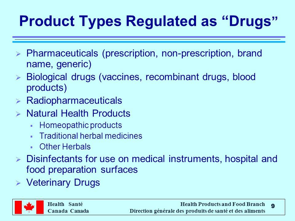 Health Santé Canada Health Products and Food Branch Direction générale des produits de santé et des aliments 9 Product Types Regulated as Drugs Pharma