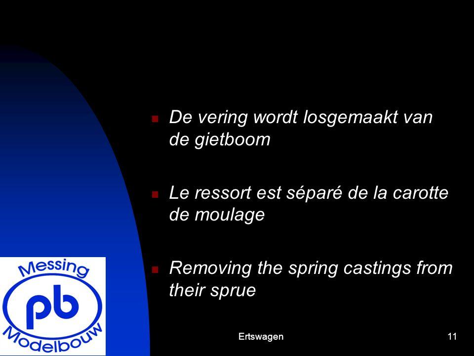 Ertswagen11 De vering wordt losgemaakt van de gietboom Le ressort est séparé de la carotte de moulage Removing the spring castings from their sprue