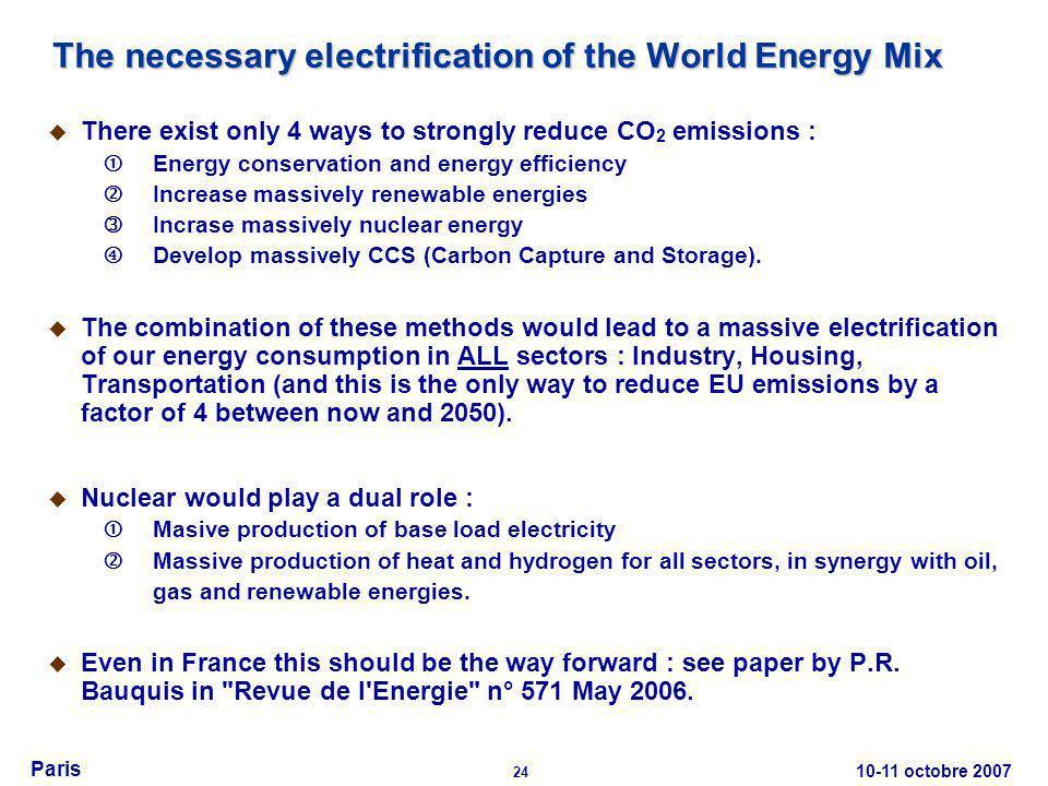 10-11 octobre 2007 24 Paris The necessary electrification of the World Energy Mix There exist only 4 ways to strongly reduce CO 2 emissions : Energy c