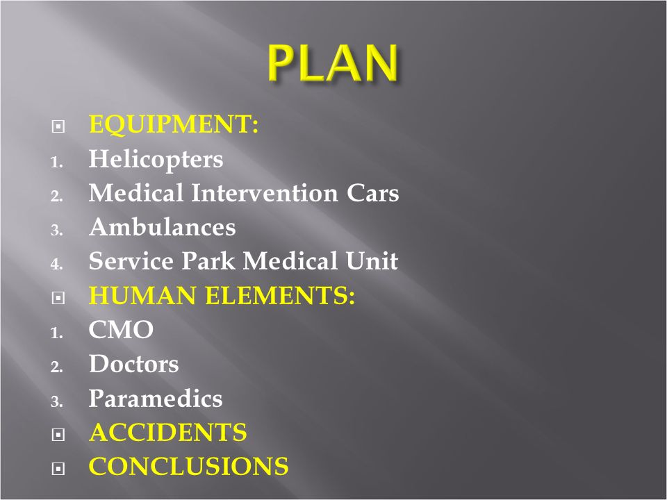 EQUIPMENT: 1.Helicopters 2. Medical Intervention Cars 3.