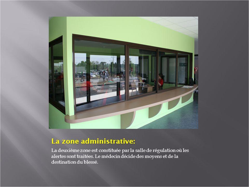 La zone administrative: La deuxième zone est constituée par la salle de régulation où les alertes sont traitées.