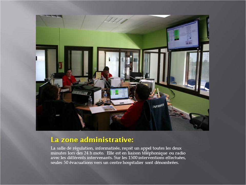 La zone administrative: La salle de régulation, informatisée, reçoit un appel toutes les deux minutes lors des 24 h moto.