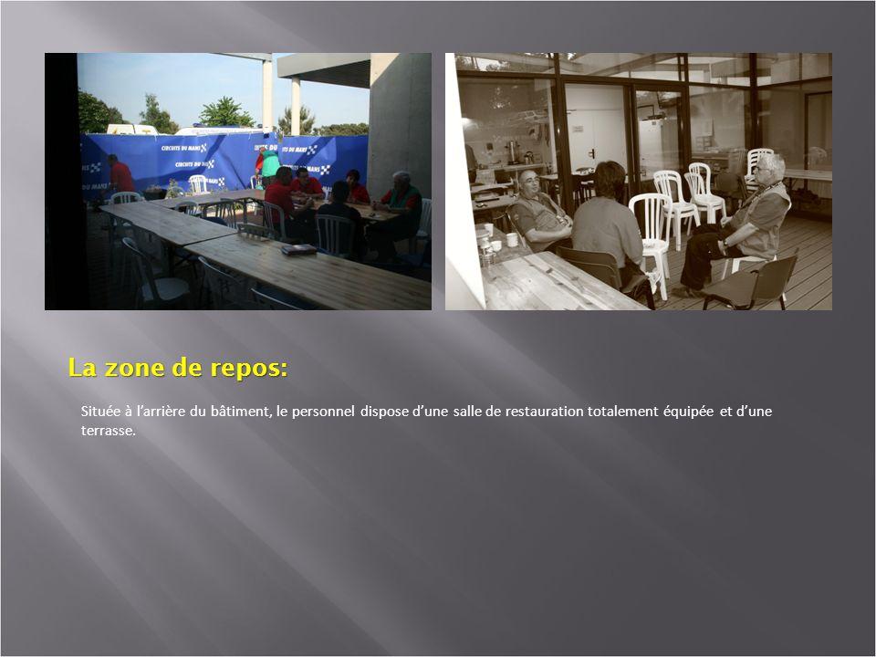 La zone de repos: Située à larrière du bâtiment, le personnel dispose dune salle de restauration totalement équipée et dune terrasse.