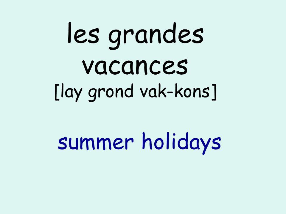 les grandes vacances [lay grond vak-kons] summer holidays