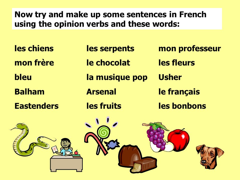 les chiensles serpentsmon professeur mon frèrele chocolatles fleurs bleula musique popUsher BalhamArsenalle français Eastendersles fruitsles bonbons Now try and make up some sentences in French using the opinion verbs and these words: