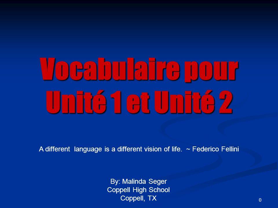 0 Vocabulaire pour Unité 1 et Unité 2 By: Malinda Seger Coppell High School Coppell, TX A different language is a different vision of life. ~ Federico
