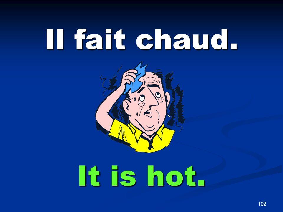 102 Il fait chaud. It is hot.