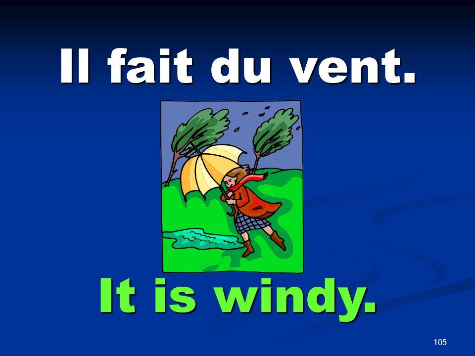 105 Il fait du vent. It is windy.