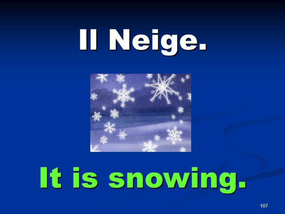 107 Il Neige. It is snowing.