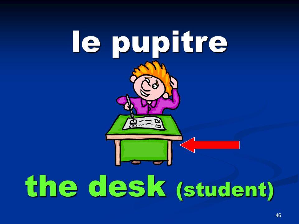 46 le pupitre the desk (student)
