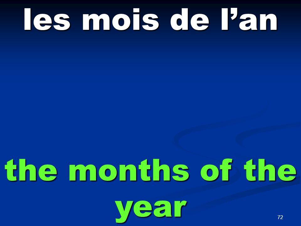 72 les mois de lan the months of the year