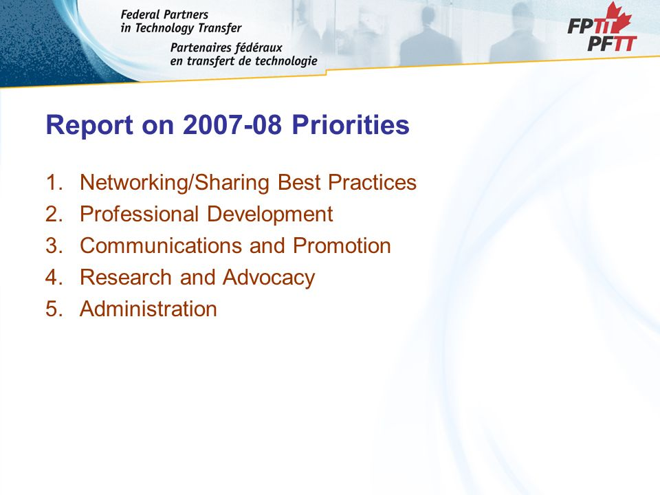 Report on 2007-08 Priorities 1.Networking/Sharing Best Practices 2.Professional Development 3.Communications and Promotion 4.Research and Advocacy 5.Administration