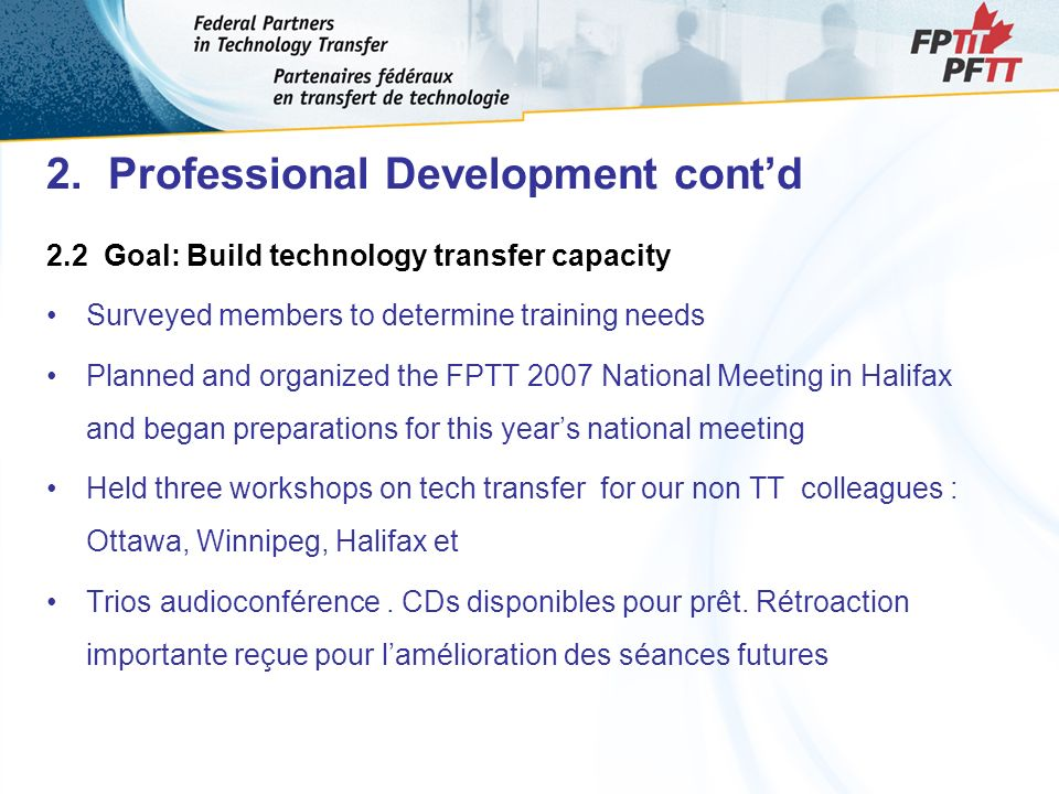 2. Professional Development contd 2.2 Goal: Build technology transfer capacity Surveyed members to determine training needs Planned and organized the