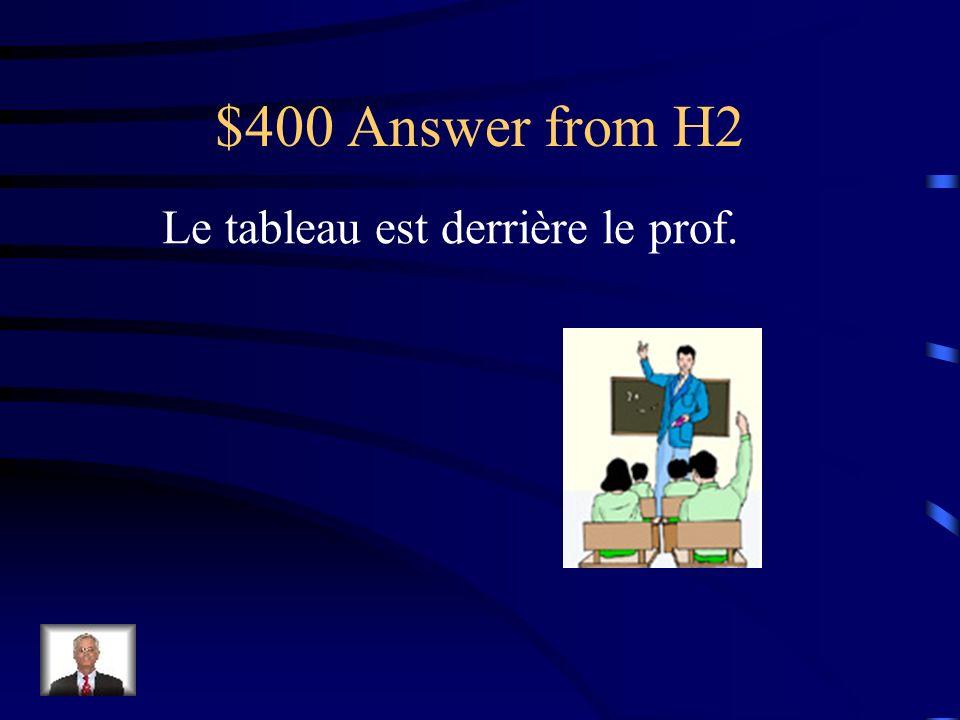 $400 Question from H2 Où est le tableau
