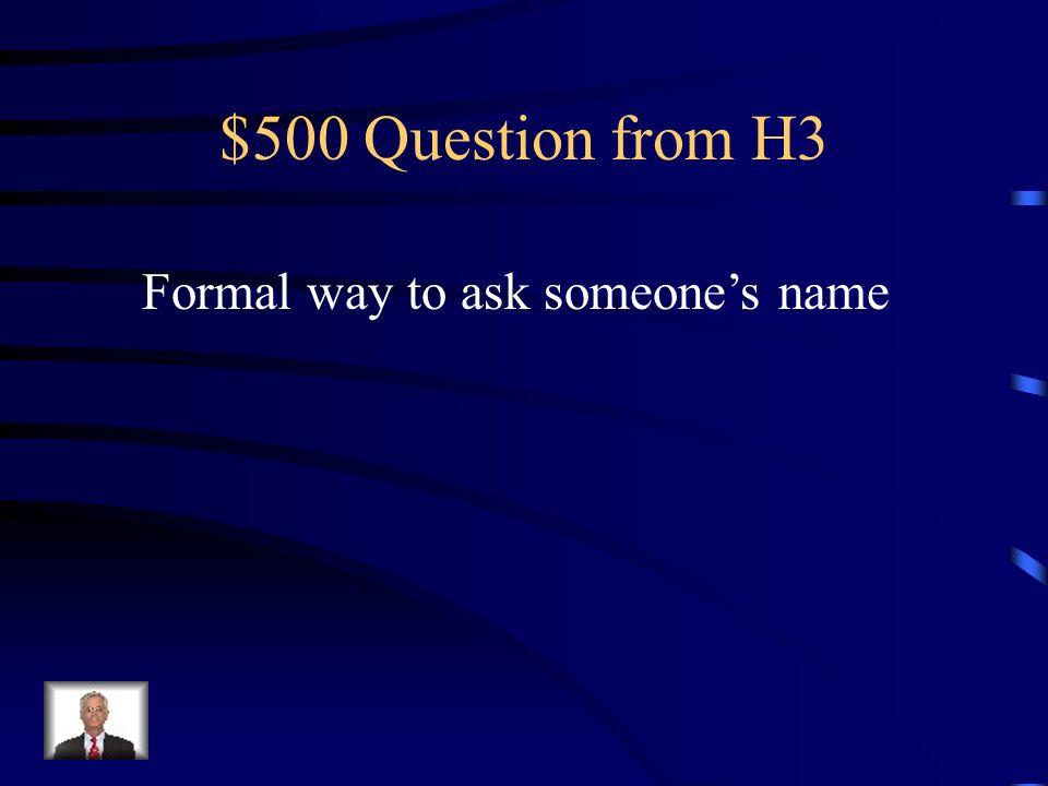 $400 Answer from H3 Quel est ton numéro de téléphone