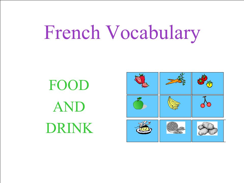 French Vocabulary FOOD AND DRINK