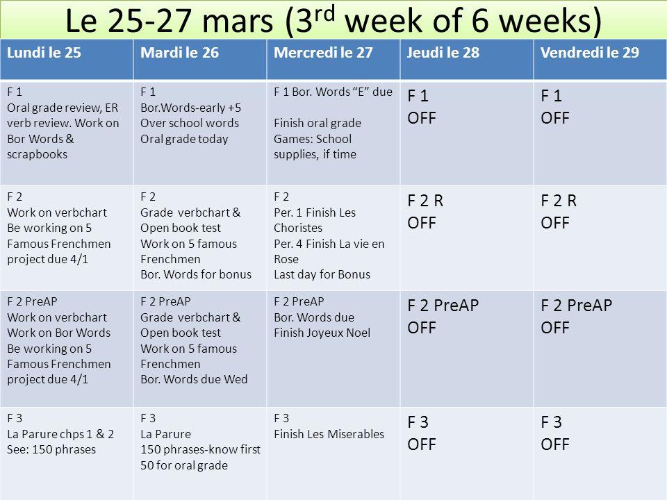 Le 25-27 mars (3 rd week of 6 weeks) Lundi le 25Mardi le 26Mercredi le 27Jeudi le 28Vendredi le 29 F 1 Oral grade review, ER verb review. Work on Bor