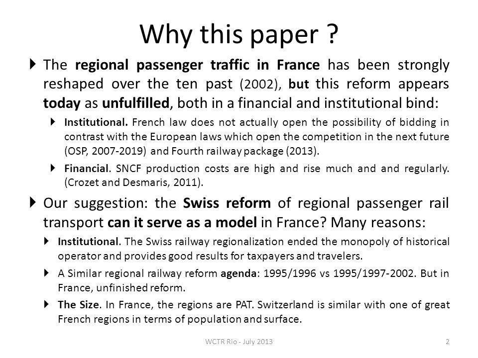 3.The keys of the Swiss rail reform success 13 1.