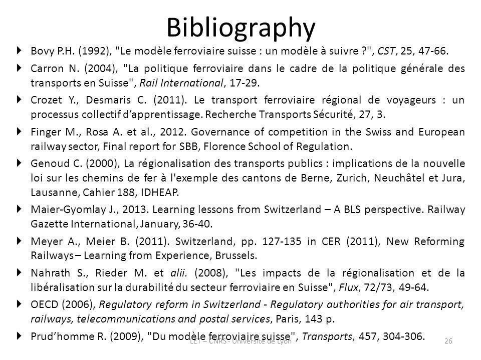 Bibliography LET – CNRS - Université de Lyon26 Bovy P.H.